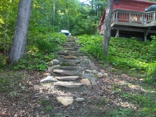 Gradual stone steps to lake